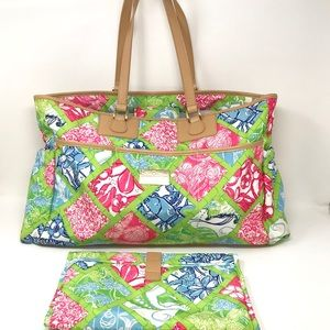 LILLY PULITZER Large Floral Print Diaper Bag